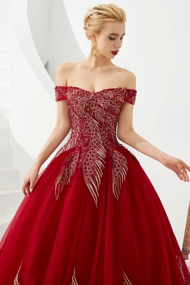 Glamorous Off the Shoulder Sweetheart Applique A-line Floor Length Prom Dresses_6