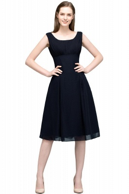 A-line Tea Length Sleeveless Ruffled Chiffon Bridesmaid Dresses_1