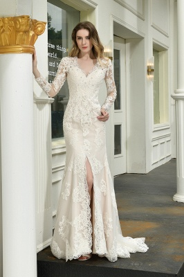 Gorgeous V-Neck Long Sleeves Form-Fitting Wedding Dress With Slit_1