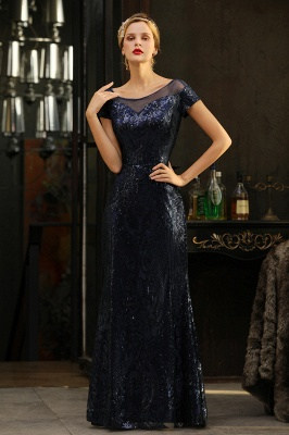 Bateau Short Sleeves Long Sequins Prom Dresses   Floor Length Fitted Evening Dresses_8