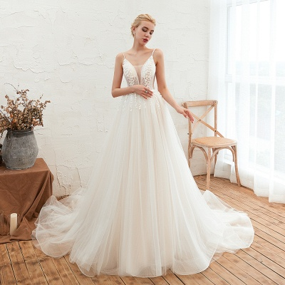 Elegant Spaghetti Straps Lace Up A-line Floor Length Lace Tulle Wedding Dresses_3