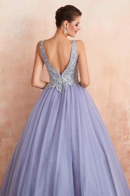 Straps V-neck Sexy Applique Long Prom Dresses   Glamorous Puffy Evening Dresses_10