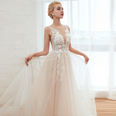 Round Neckline Sleeveless A-line Lace Up Sweep Train Lace Appliques Wedding Dresses_19