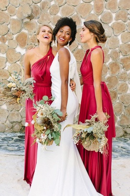 Satin Convertible Long Sexy Bridesmaid Dresses | Elegant Wedding Guest Dresses_4