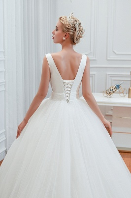 Elegant Floor Length V-neck Straps Belted A-line Tulle Wedding Dresses_9