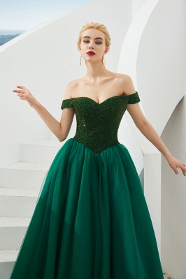 Off the Shoulder Sweetheart Jade A-line Long Prom Dresses | Elegant Evening Dresses Cheap_9