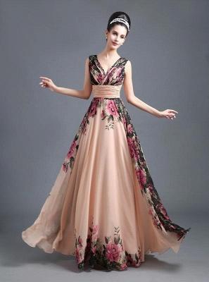 A-Line Chiffon Printed Ruffles Evening Dress On Sale_1