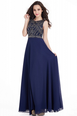 Sheath Jewel Crystals Floor Length Long Chiffon Cheap Prom Dresses_8