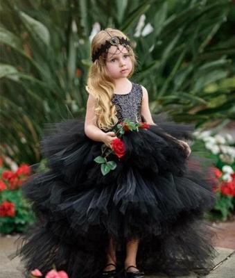 Jewel Sleeveless Hi-Lo Open Back Sequins Tulle Ball Gown Flower Girl Dresses_4