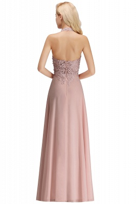 Cheap A-line Halter Chiffon Lace Bridesmaid Dress with Beadings in Stock_31