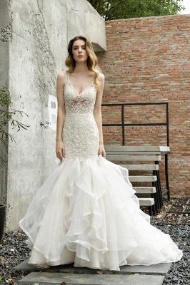 Tulle Lace Sleeveless Sexy Mermaid Wedding Dress_7