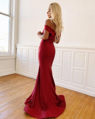 Burgundy Off the Shoulder Mermaid Long Prom Dresses | Sexy Evening Dresses_2