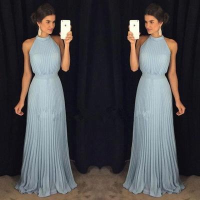 2019 Gorgeous Sleeveless Halter Neck Blue Pleats Long Evening Dress_2