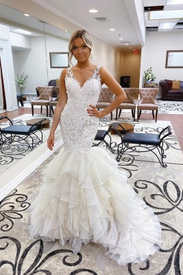Gorgeous Straps V-neck Lace Tulle Mermaid Wedding Dresses   Trendy Bridal Gowns_1