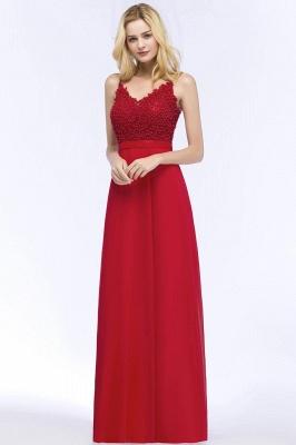Spaghetti Straps V-Neck Chiffon Lace Evening Dress On Sale_3