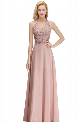 Cheap A-line Halter Chiffon Lace Bridesmaid Dress with Beadings in Stock_25