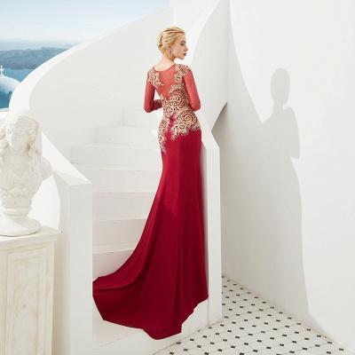 Gorgeous Form-fitting Long Sleeves Floor Length Prom Dresses | Long Beaded Evening Dresses_7