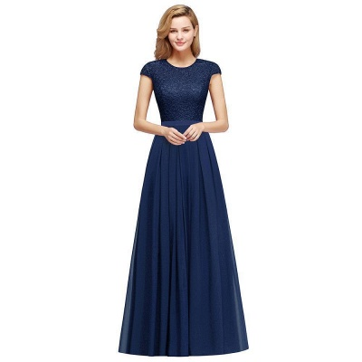 Cap Sleeves Floor Length Jewel Lace Chiffon Bridesmaid Dress | Cheap Prom Dresses_4