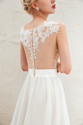 Jewel Cap Sleeves Sheer Sweep Train A-line Appliques Chiffon Wedding Dresses_12