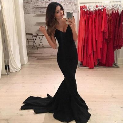 Spaghetti Straps Mermaid Prom Dresses Simple Black Mermaid Sleeveless Evening Gowns_2