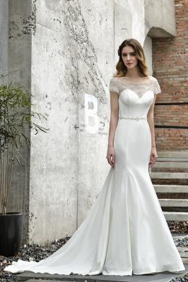 Cheap Short Sleeveless Lace Mermaid White wedding dresses_2