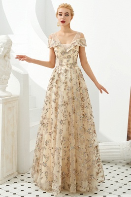 Glamorous Cold-Sleeves A-line Long Lace Prom Dresses |  Floor Length Evening Dresses_7