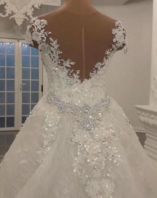 Luxury Sheer Jewel Cap Sleeve Applique Beading Mermaid Wedding Dresses With Detachable Skirt_3