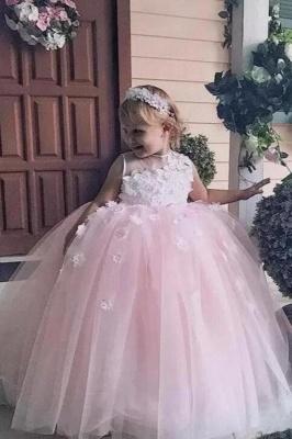 Jewel Sleeveless Tulle Ball Gown Flower Girl Dresses | Kids Dresses for Wedding_1