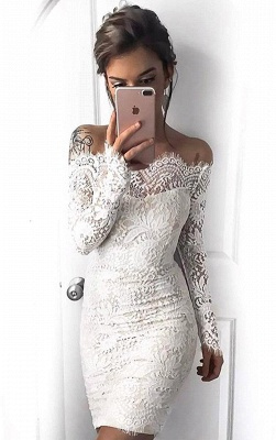 Cocktail Long-Sleeve Short Mermaid Simple White Party Dresses BH353_4