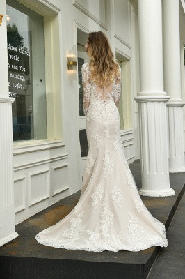 Gorgeous V-Neck Long Sleeves Form-Fitting Wedding Dress With Slit_3