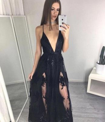 Black Spaghettis Straps Prom Dresses Side Slits Appliques A-line Party Dresses_2