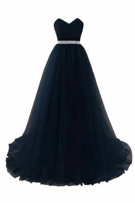 Cheap modest sweetheart sleeveless beading a-line prom dress in Stock_5