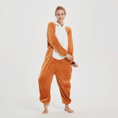 Cute Sleepwear for Women Brown Hoodie Onesies_9