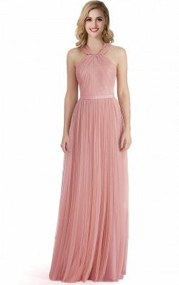 Cheap Sheath Pink Tulle Ribbon Sash Simple Bridesmaid Dress in Stock_1