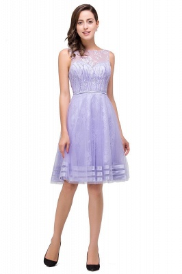 2019 Lavender Short Lace A-Line Sleeveless Mini Homecoming Dress_4