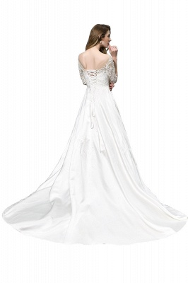 Cheap Lace Half Sleeves V Neck Wedding Gowns Satin with Train_3