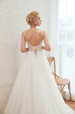 Elegant Spaghetti Straps Lace Up A-line Floor Length Lace Tulle Wedding Dresses_17