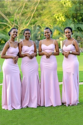 Spaghetti Straps Long Cheap Fitted Bridesmaid Dresses | Sexy Maid of Honor Dresses_1