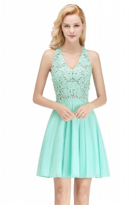 Cheap A-line V-neck Sleeveless Short Appliques Chiffon Homecoming Dress in Stock_4