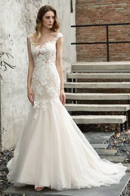 Gorgeous Floor Length  Lace Tulle Wedding Dresses Mermaid_2