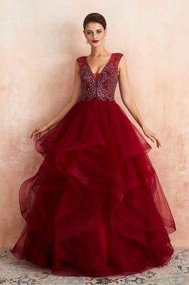 Sleeveless V-neck Sexy Long Tiered Beaded Prom Dresses | Elegant Organza Long Evening Dresses_4