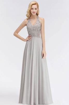 Cheap A-line Halter Chiffon Lace Bridesmaid Dress with Beadings in Stock_8