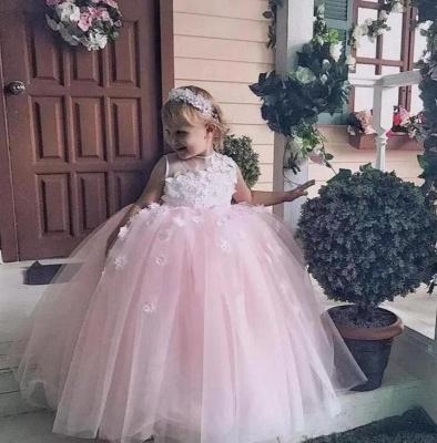 Jewel Sleeveless Tulle Ball Gown Flower Girl Dresses | Kids Dresses for Wedding_3