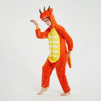 Adorable Adult Pyjamas for Women Triceratops Onesie, Orange_15