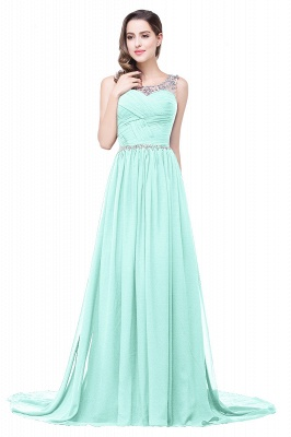 A-line Court Train Chiffon Cheap Party Dress With  Beading_7