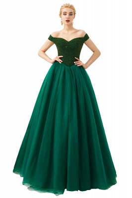 Off the Shoulder Sweetheart Jade A-line Long Prom Dresses | Elegant Evening Dresses Cheap_4