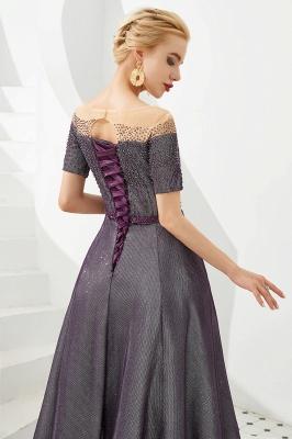 Glamorous Round Neckline Short Sleeves Beaded Belt A-line Floor Length Prom Dresses_11