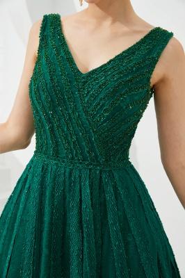 Gorgeous Straps V-neck A-line Long Prom Dresses | Jade Floor Length Evening Dresses_14