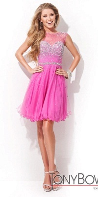 Cheap Open Back Sleeveless Chiffon Homecoming Dress Crystal Beads Tulle Short Prom Dress in Stock_3