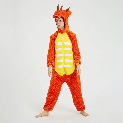 Adorable Adult Pyjamas for Women Triceratops Onesie, Orange_11